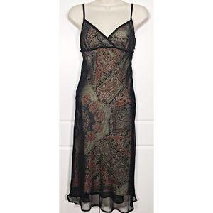 BCBG Vintage Paisley & Black Mesh Slip Dress